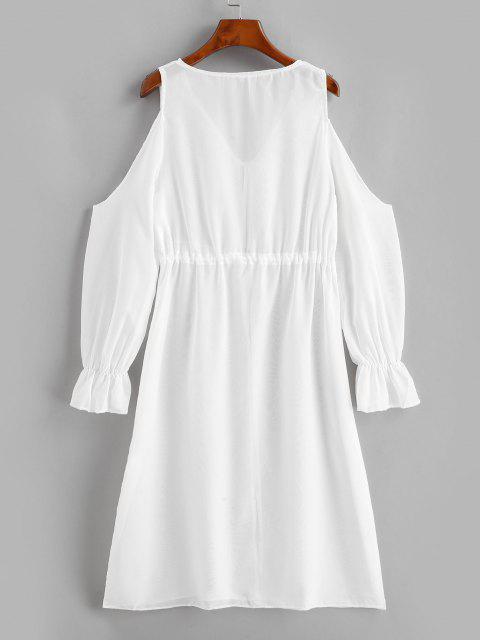 Robe Couverture Plongeante Nouée Transparente à Epaule Dénudée - Blanc L Mobile