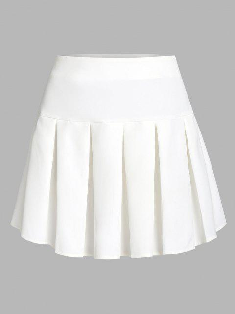 women's ZAFUL Pleated Mini Skirt - WHITE L Mobile