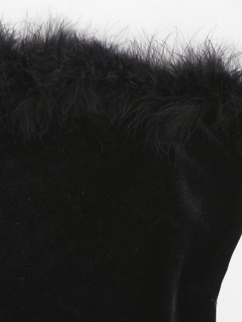 ladies ZAFUL Faux Fur Panel Velvet Strapless Bodysuit - BLACK M Mobile