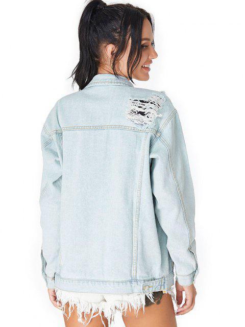women Drop Shoulder Ripped Pocket Denim Jacket - LIGHT BLUE S Mobile