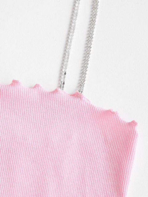 Camisole Courte à Bretelle Côtelé Diamant à Ourlet en Laitue - Rose clair M Mobile