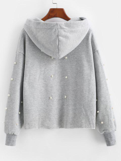 Faux Pearl Fleece Lined Raw Cut Pullover Hoodie - رمادي فاتح L Mobile