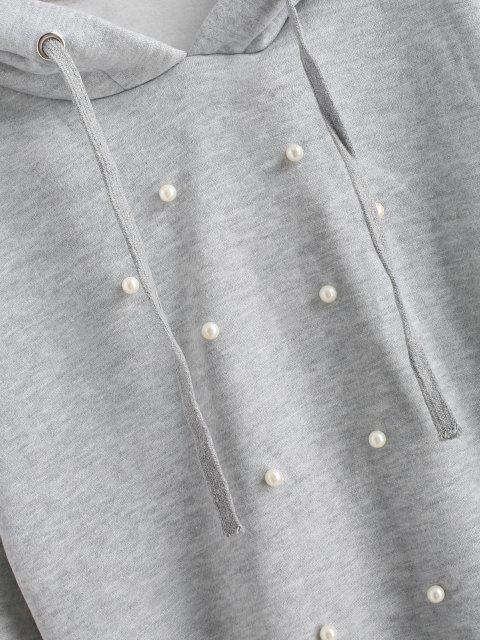 Sudadera con Capucha de Perlas Artificiales con Corte Redondo - Gris Claro L Mobile