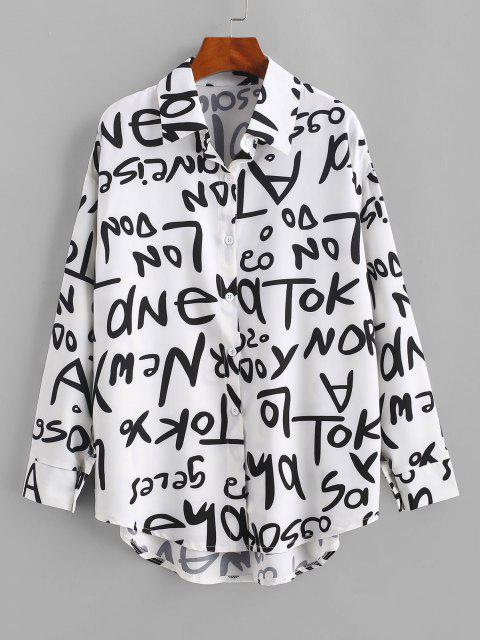 Drop Shoulder Letter Graphic Curved Hem Shirt - أبيض XL Mobile