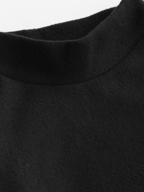 buy Mock Neck Fleece Plain Sweatshirt - BLACK S Mobile