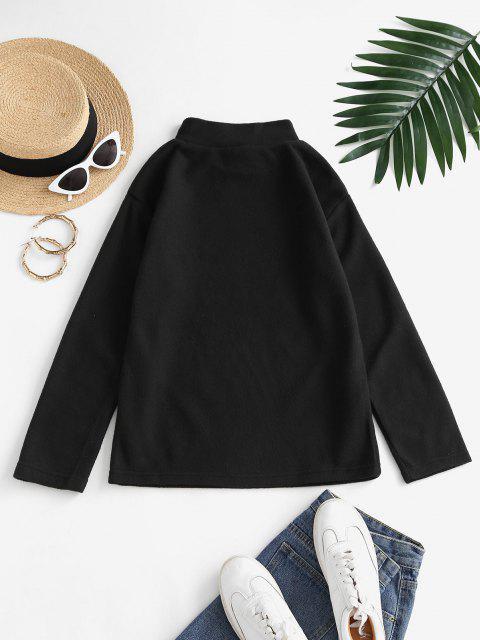 Mock Neck Fleece Plain Sweatshirt - أسود S Mobile