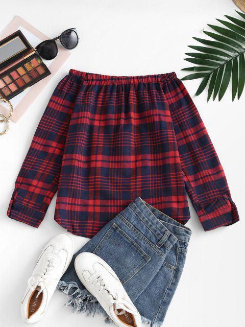 new Plaid Off Shoulder Mock Button Tunic Blouse - RED L Mobile