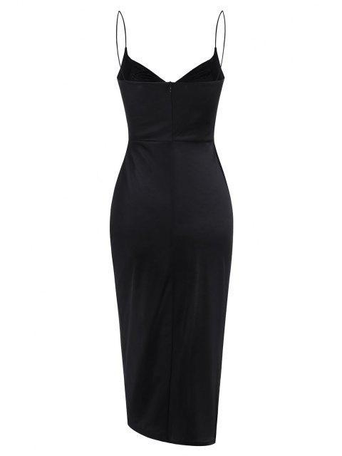 affordable Slit Satin Ruched Bodycon Cami Dress - BLACK L Mobile