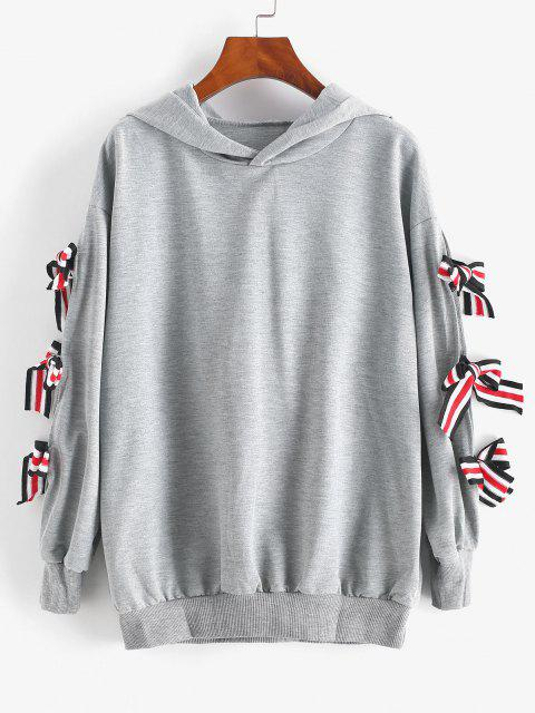Striped Bowtie Drop Shoulder Hoodie - رمادي فاتح S Mobile