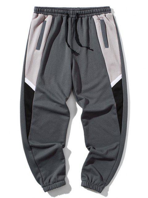 Pantalones Deportivos con Parche de Color Bloque - Nube Gris 4XL Mobile