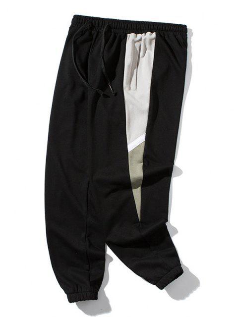 Pantalones Deportivos con Parche de Color Bloque - Negro 4XL Mobile
