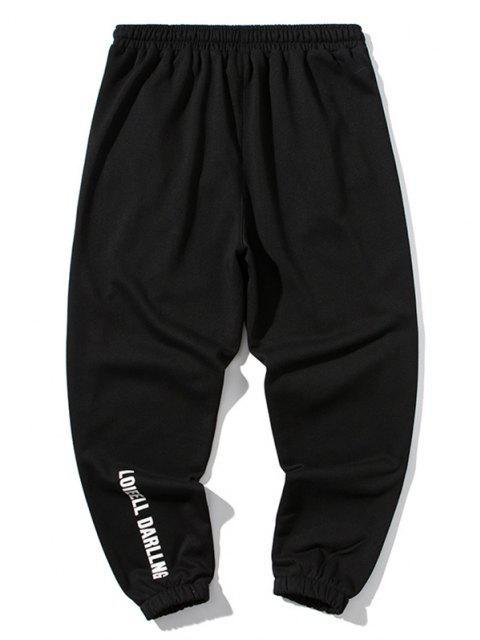 Pantalones Deportivos con Parche de Color Bloque - Negro 3XL Mobile