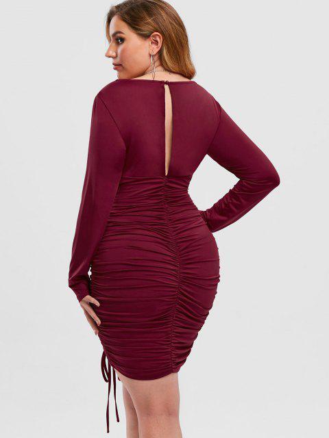 sale Plus Size Lace Insert Cinched Mini Dress - FIREBRICK 5X Mobile