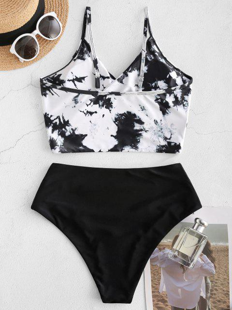 shop ZAFUL Tie Dye Cirss Cross Tankini Swimwear - WHITE M Mobile