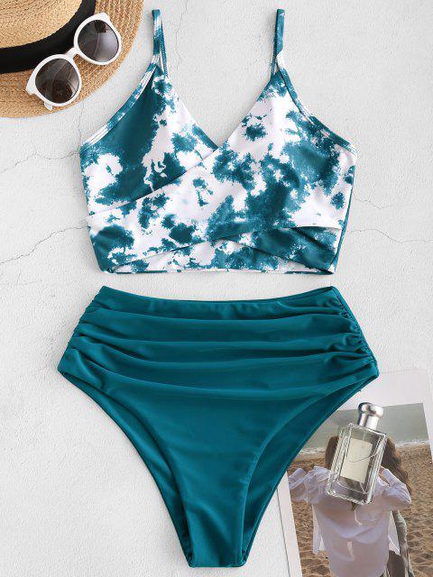 buy ZAFUL Tie Dye Cirss Cross Tankini Swimwear - DEEP GREEN L Mobile