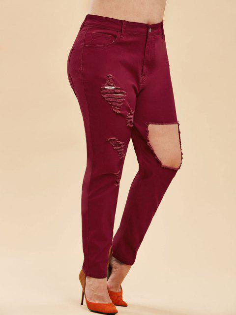 online Plus Size High Rise Ripped Destroyed Jeans - DEEP RED L Mobile