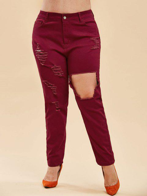 shop Plus Size High Rise Ripped Destroyed Jeans - DEEP RED 5X Mobile