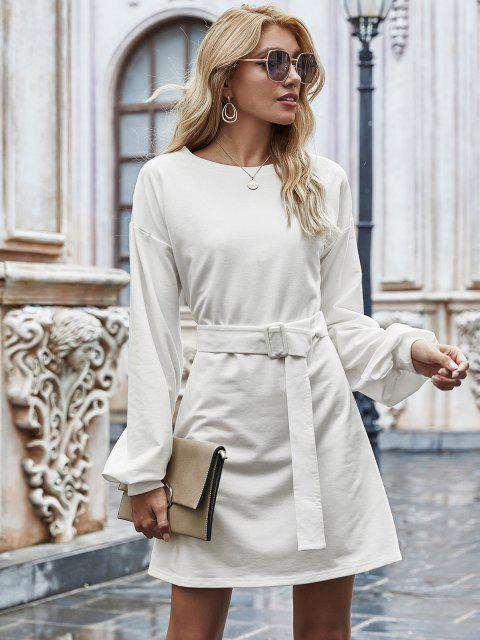 womens Long Sleeve Belted Casual Mini Dress - WHITE S Mobile