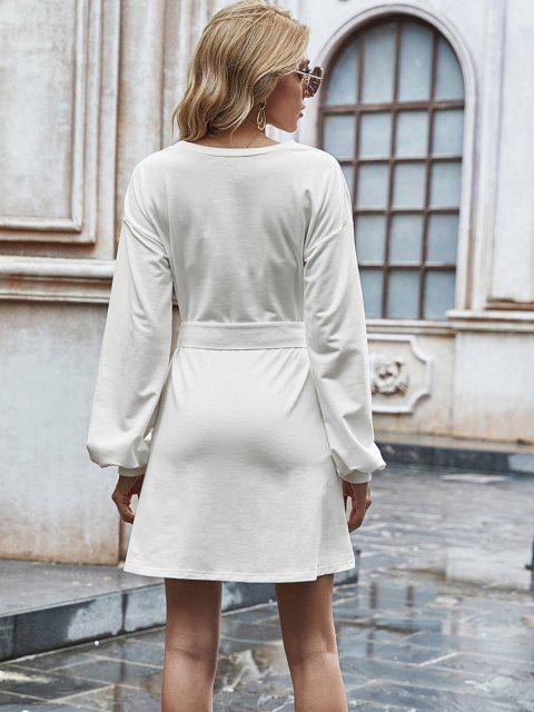 Mini Robe Décontractée Ceinturée à Manches Longues - Blanc S Mobile
