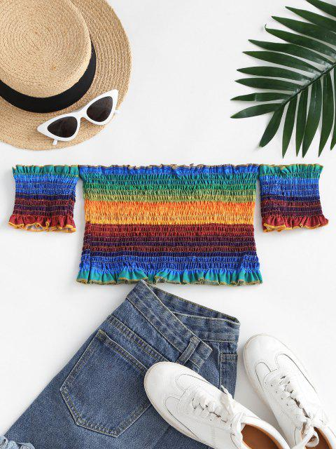 women's Smocked Rainbow Ruffle Off Shoulder Blouse - MULTI L Mobile