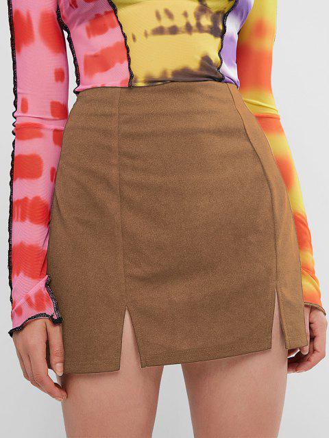 women's ZAFUL Slit Mini Skirt - KHAKI S Mobile
