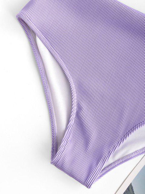 ZAFUL Tankini de Cintura Alta con Nudo y Textura - purpúreo claro M Mobile