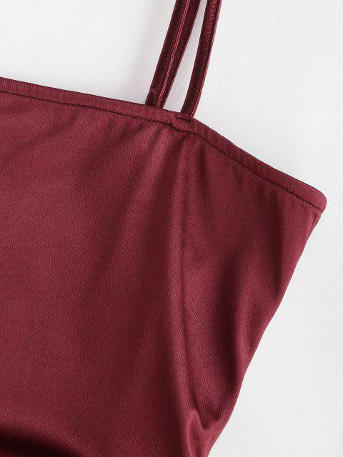 Zaful Spaghetti Strap Cinched Satin Bodycon Dress. - 적포도주 미디엄 Mobile