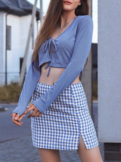 unique Tie Front Ribbed Plaid Slit Two Piece Dress - BLUE L Mobile
