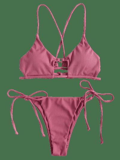 ZAFUL Ribbed Crisscross Cutout String Bikini Swimwear