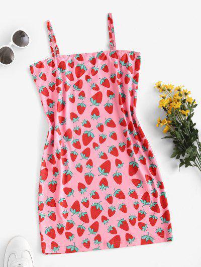 Vestido Cami Impressão De Morangos - Luz Rosa S