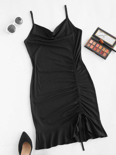 Cinched Ruched Flounce Cami Dress - Black L