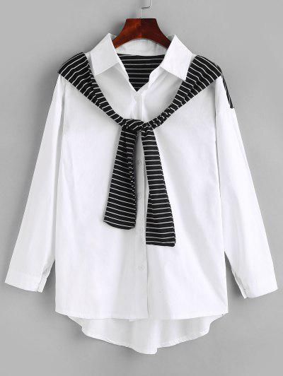 Button Up Inset Striped Scarf Shirt - White M