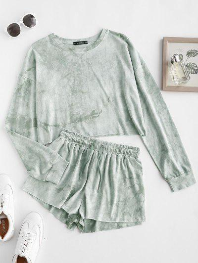 Sweat Tie Dye Raw Hem Two Piece Shorts Set - Green M