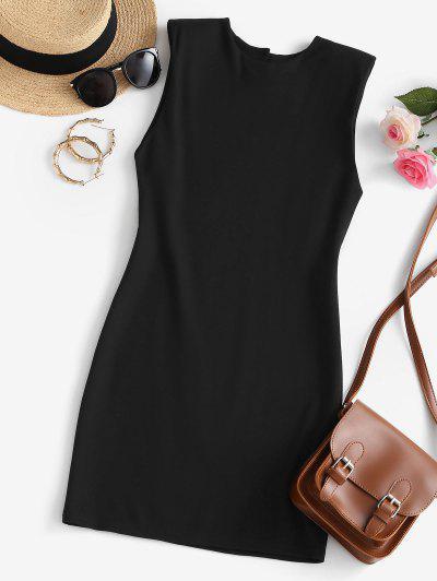 Shoulder Pad Keyhole Back Tank Dress - Black M