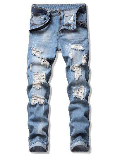 Ripped Design Straight Leg Jeans - Jeans Blue 38