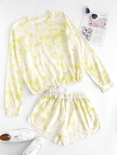 Tie Dye Drop Shoulder Drawstring Hem Shorts Set - Light Yellow L