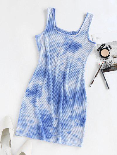 ZAFUL Ribbed Tie Dye Bodycon Tank Dress - Light Blue S