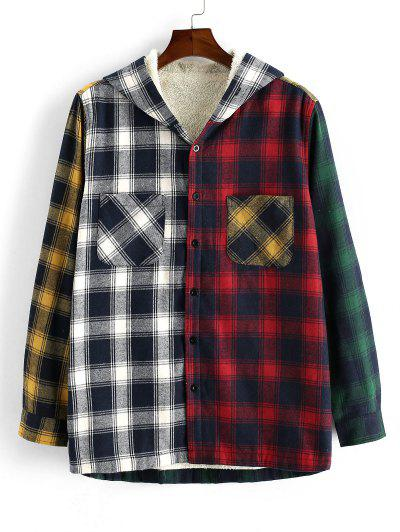 Colorblock Plaid Pocket Fluffy Hooded Shirt Jacket - Deep Red S