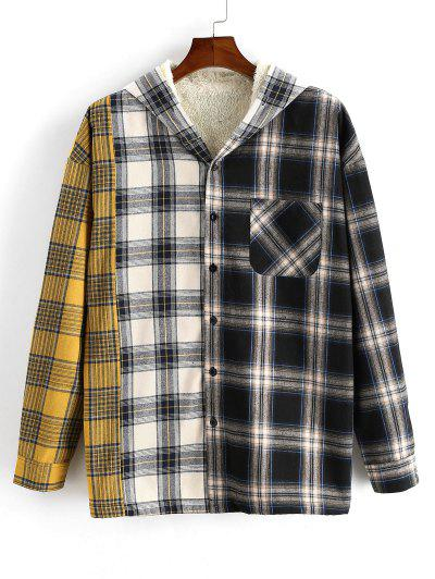 Plaid Pattern Fleece Pocket Hooded Shirt Jacket - Yellow L