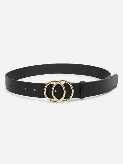 Double Circle PU Leather Belt - Black