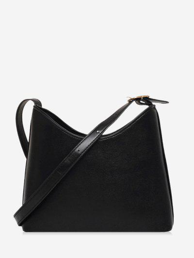 Plain Leather Bucket Shoulder Bag - Black