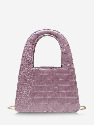 Textured Crossbody Chain Handbag - Pale Violet Red