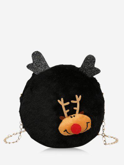 Christmas Elk Plush Chain Canteen Bag - Black