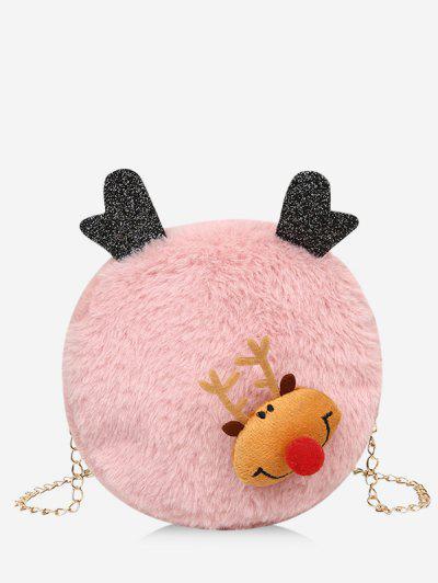 Christmas Elk Plush Chain Canteen Bag - Light Pink