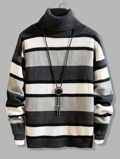 Color Blocking Striped Knit Turtleneck Sweater - Dark Gray S