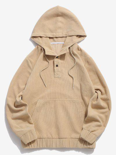 Half Button Solid Kangaroo Pocket Corduroy Hoodie - Light Yellow M
