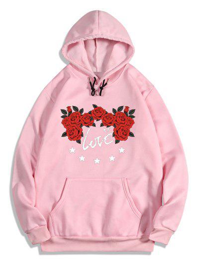 Rose Flower Love Print Graphic Fleece Hoodie - Pig Pink M