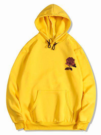 Vlies Rose Blumen Druck Hoodie - Gelb Xl