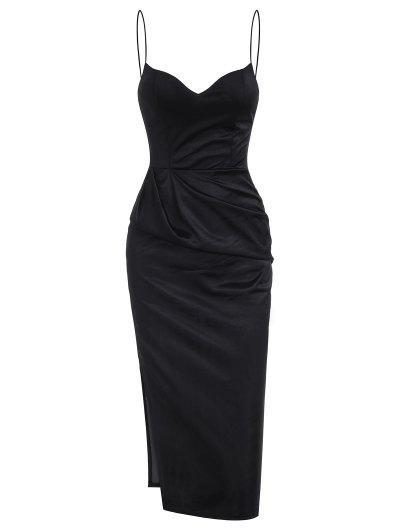 スリットサテンシャーリングボディコンキャミドレス - 黒 L