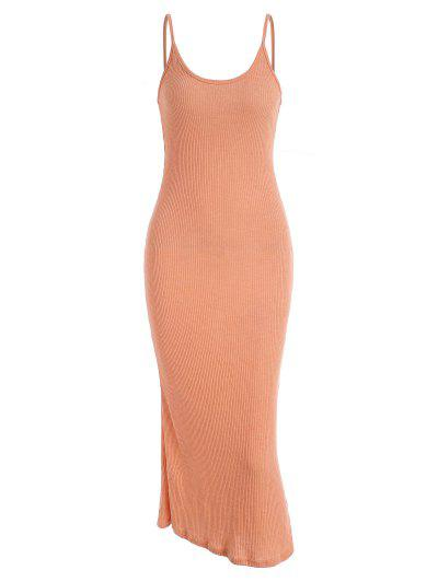 Ribbed Knit Long Bodycon Cami Dress - Light Orange M